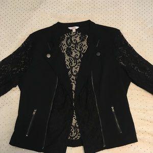 Black Blazer with Lace Details